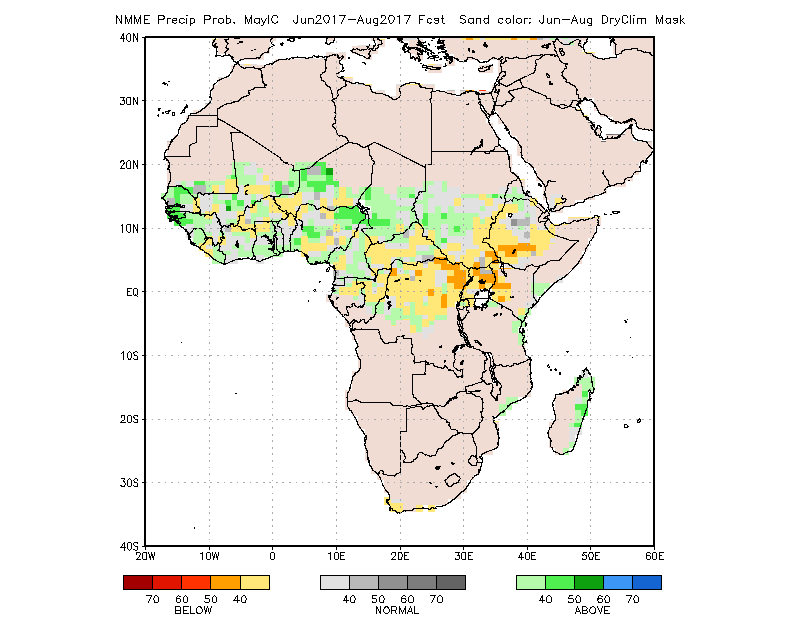 Figure 2.  Probability of the most likely rainfall category between June and August 2017