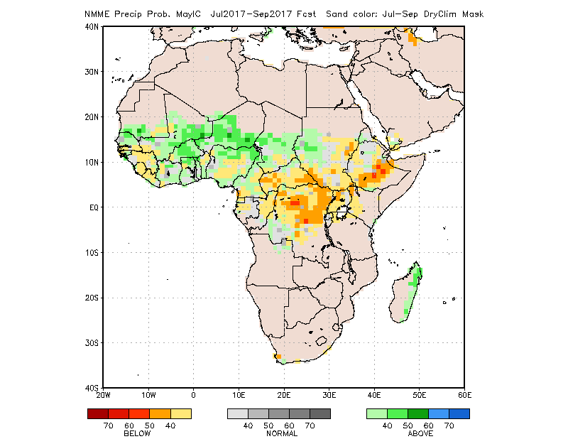 Figure 3.   Probability of the most likely rainfall category between July and September 2017