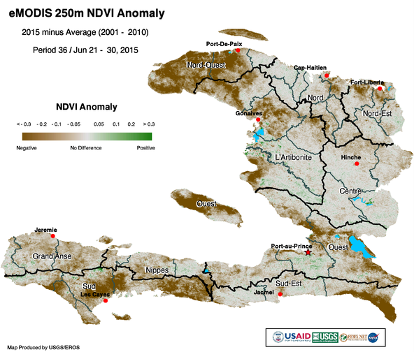 Figure 2. NDVI Anomaly for June 21 – 30, 2015.