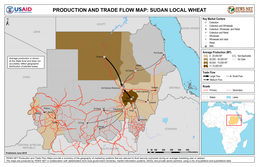 Sudan Wheat Production and Trade Flow Map