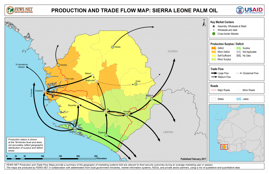 Palmoil Production and Trade Flow Map Sierra Leone