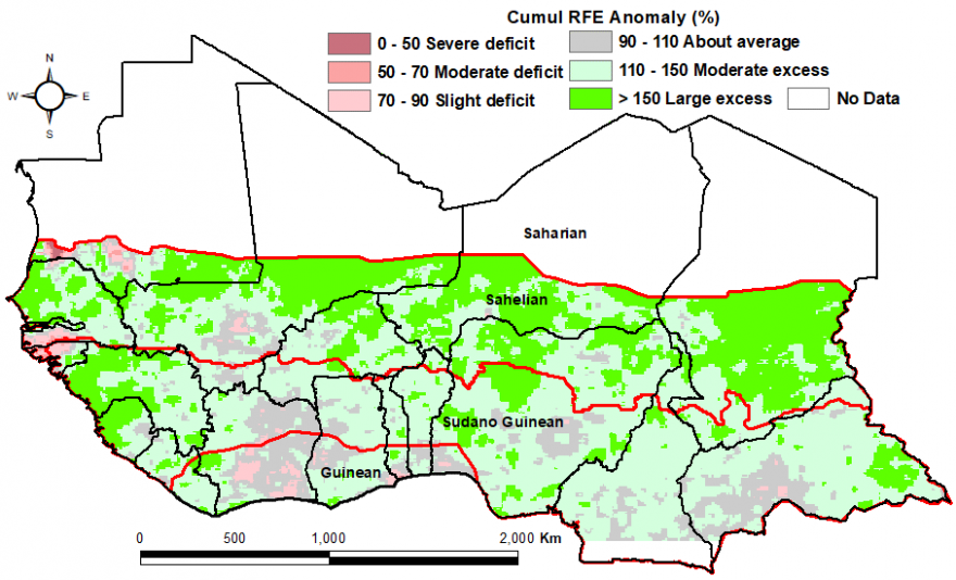 Figure 2: Rainfall estimate (RFE) anomaly compared to the 2006-2015 mean, 1st dekad of April -2nd dekad of July