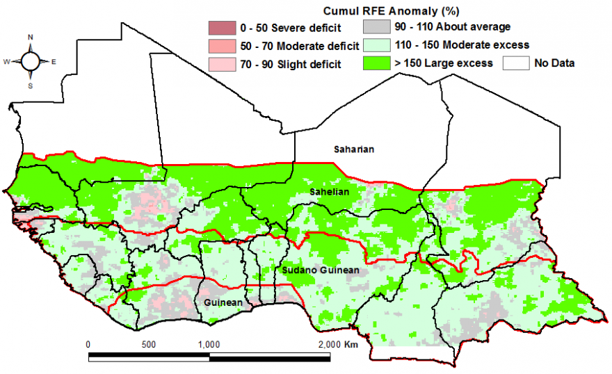 Figure 2: Rainfall estimate (RFE) anomaly compared to the 2006-2015 mean, 1st dekad of April -3rd dekad of June