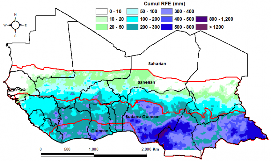 Figure 1.Total rainfall estimate (RFE) in mm, 1stdekad of April to 3rddekad  of May