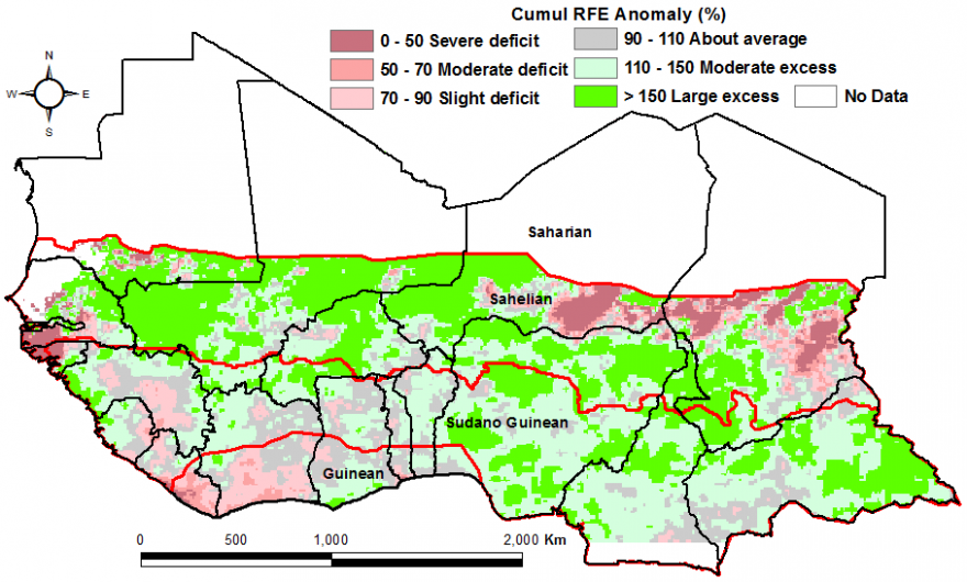 Figure 2. Rainfall estimate (RFE) anomaly compared to the 2006-2015  mean, 1stdekad of April to 1stdekad of May