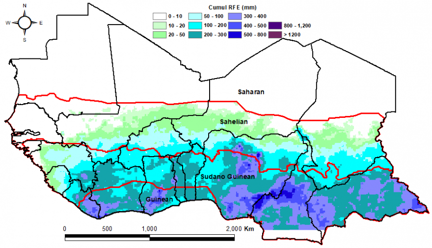 RFE rainfall estimates are 200-800mm along southern coast of West Africa and are 10-50mm in the southern reaches of the Sahel.