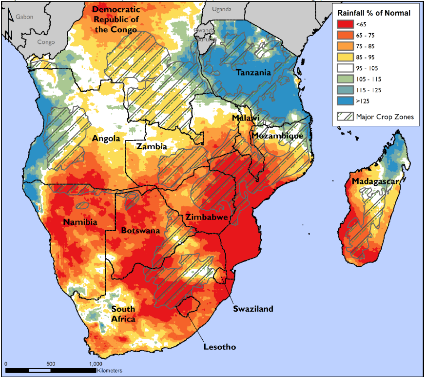 October 2015 – February 2016 rainfall anomaly (% of the 1982-2011 average) for Southern Africa