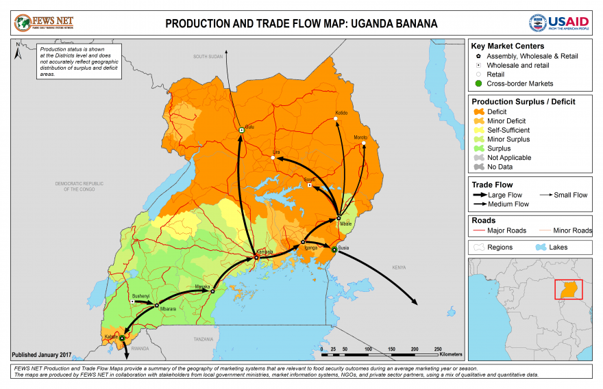 Uganda Banana Production and Trade Flow Map