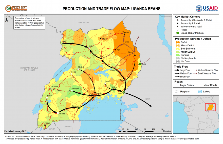 Uganda Beans Production and Trade Flow Map
