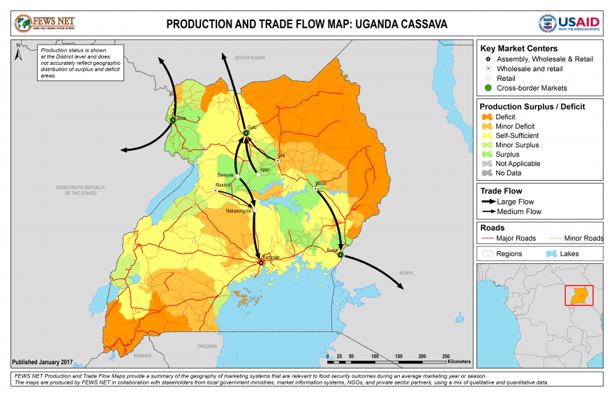 Uganda Cassava Production and Trade Flow Map Uganda