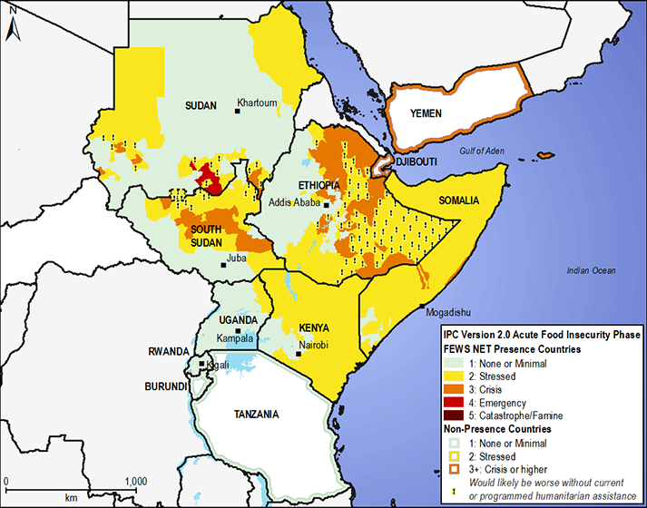 East Africa estimated food security conditions, example IPC map