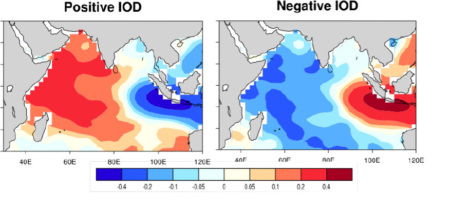Sea surface temperature patterns of positive and negative IOD