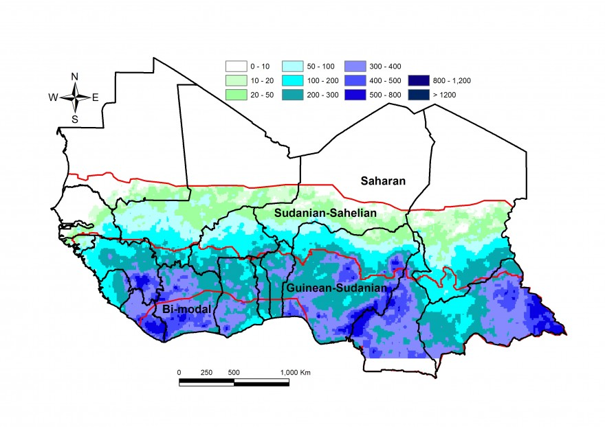 Figure 1. Total rainfall estimate (RFE) in mm, 1st dekad of April to 3rd dekad of May
