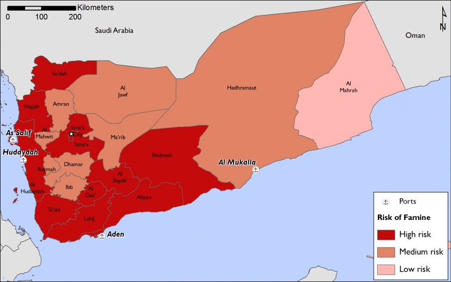 Figure 1: Yemen Risk of Famine, given closure of all seaports