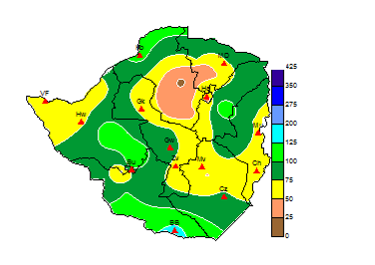 Figure 2. Percentage of normal rainfall from October 1 to December 19, 2017.