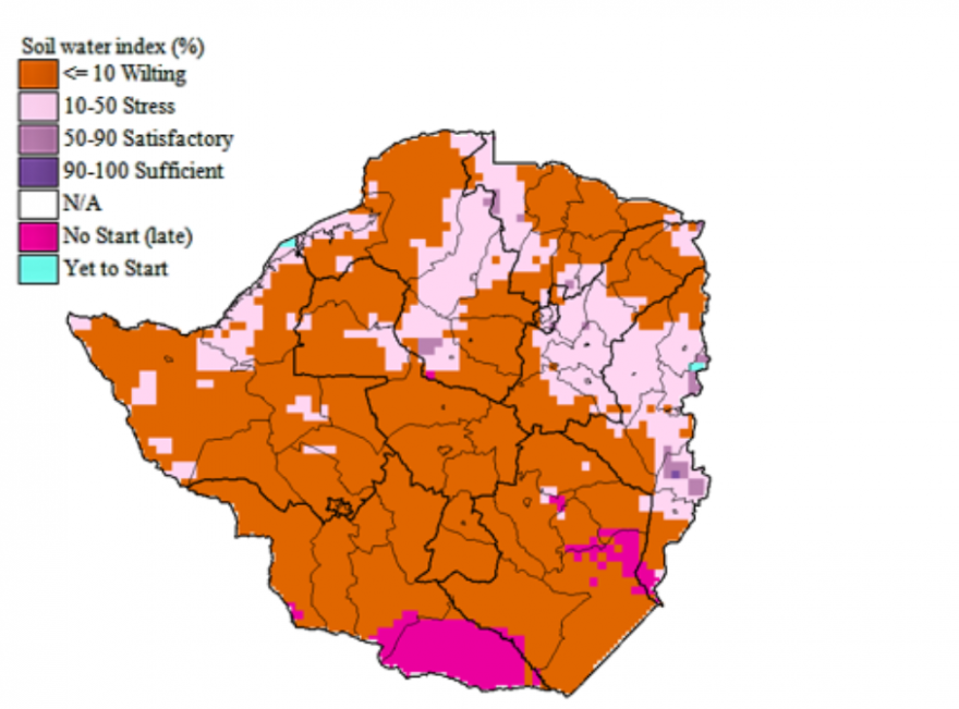 Figure 4. Widespread wilting maize crop based on Soil Water Index for maize, January 20, 2018