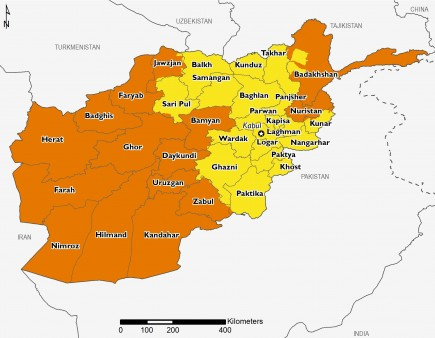 Afghanistan projected food security outcomes, April to May 2019