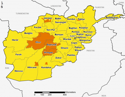 This map of Afghanistan shows most of the country in Stressed (IPC Phase 2). Most of Ghor, Daykundi, and Uruzgan in the central part of the country are in Crisis (IPC Phase 3), as are some urban areas.