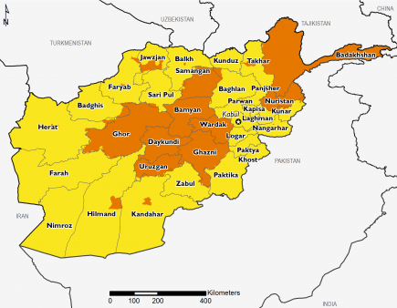 This map of Afghanistan shows most of the country in Stressed (IPC Phase 2). Most of Ghor, Daykundi, Uruzgan, Samangan, Bamyan, Wardak, and Ghazni in the central part of the country and Badakhshan and Nuristan in the northeastern part of the country are in Crisis (IPC Phase 3), as are some urban areas.