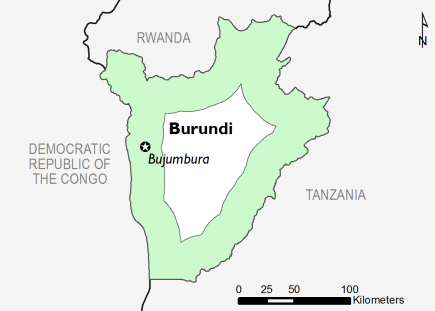 Map of Burundi in IPC Phase 1 (Minimal)