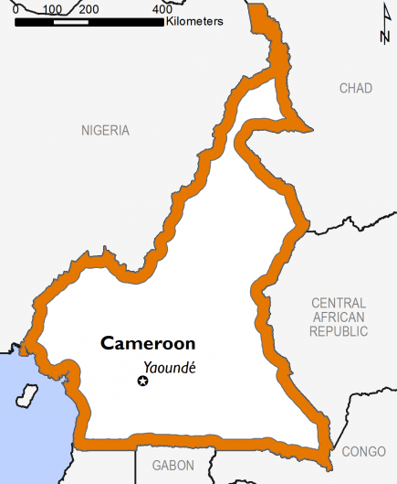 Outline of Cameroon showing the highest area level classification is Crisis (IPC Phase 3)