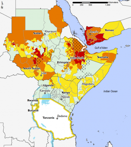 East Africa February 2016 Food Security Projections for February to May