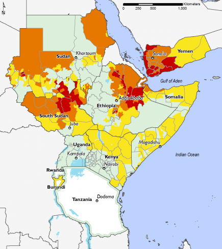 East Africa February 2016 Food Security Projections for June to September