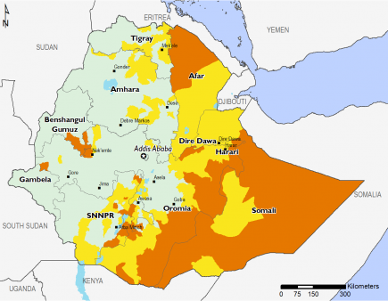 Map of Projected food security outcomes, February to May 2019: Most of the western part of the country is in Minimal (IPC Phase 1) with isolated areas in Stressed (IPC Phase 2) and Crisis (IPC Phase 3). Afar is in Stressed (IPC Phase 2) and Crisis (IPC Ph