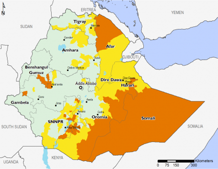Map of Projected food security outcomes, April to May 2019 : Minimal (IPC Phase 1) throughout most of Western Ethiopia, Stressed (IPC Phase 2) in parts of SNNPR, Dire Dawa, Harari, Afar, Tigray, and Amhara, Crisis (IPC Phase 3) in most of Somali, and part