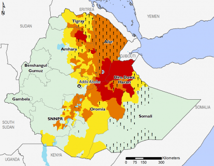 Ethiopia April 2016 Food Security Projections for April to May