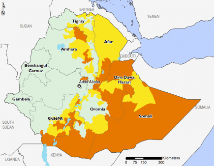 Ethiopia January 2017 Food Security Projections for February to May