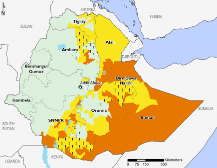 Ethiopia March 2017 Food Security Projections for March to May