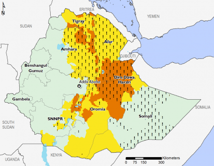 Ethiopia August 2016 Food Security Projections for August to September