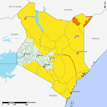 Projected food security outcomes, June - September 2020. Northeastern, northern, and eastern Kenya are Stressed (IPC Phase 2). Tana River, Mandera West, Mandera East, and parts of Lafey are in Crisis (IPC Phase 3).