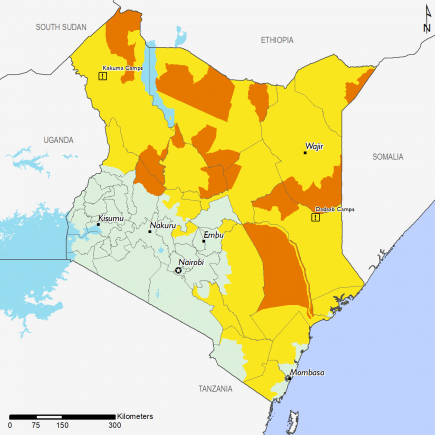 Map of project food security outcomes, Septembe 2019: Most of the country remains Stressed (IPC Phase 2) while some areas enter Crisis (IPC Phase 3) and most of the southwest remains in minimal (IPC Phase 1)