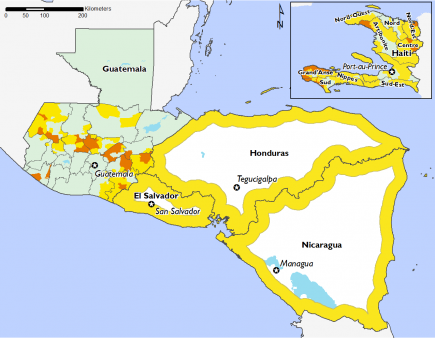 Most of the region in phases 1 and 2, except for dry corridor in Guatemala and certain areas in Haiti in phase 3.