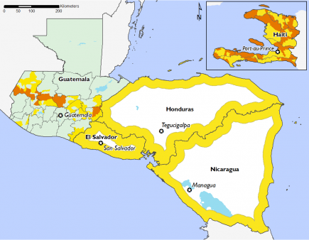 Most of the Central American region is in Phase 2 and the Dry Corridor in Guatemala has several areas in Phase 3. Haiti is in Phase 2 and Phase 3.