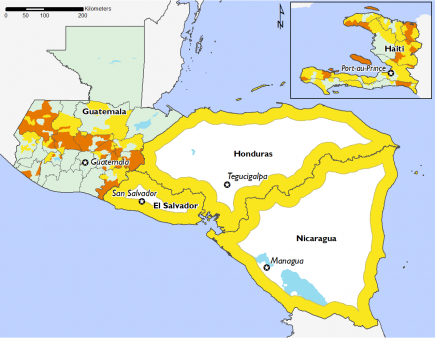 Most of the Central American region is in Phase 2 and the Dry Corridor in Guatemala has several areas in Phase 3. Haiti is in Phase 1 and Phase 2 with some areas in Phase 3.