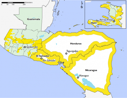 Nicaragua, Honduras, El Salvador and part of Guatemala are in phase 2.