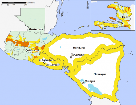 Guatemala's dry corridor indicates areas in Phase 3, as well as certain areas in Haiti. El Salvador, Honduras and Nicaragua are in Phase 2.