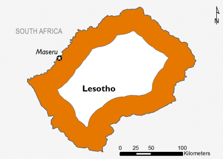 This map shows part of Lesotho classified in Crisis (IPC Phase 3).
