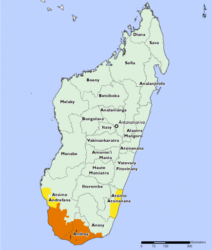 Map of Projected food security outcomes, December 2018 to January 2019: Most of the country in Minimal (IPC Phase 1), areas of the south are in Crisis (IPC Phase 3) and Crisis (IPC Phase 3!), parts of the soutwest and southeast coast are in Stressed (IPC