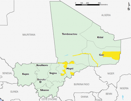Minimal (IPC Phase 1) throughout the country except along the Niger River and parts of eastern Mali