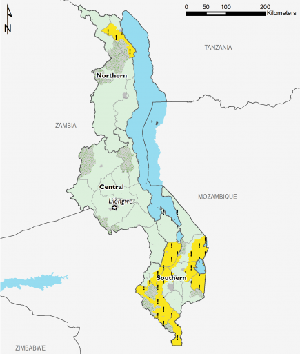 This map shows most of the country in Phase 1 (Minimal), with the exception of some southern areas and one northern area in Phase 2! (Stressed!) in the presence of humanitarian assistance.
