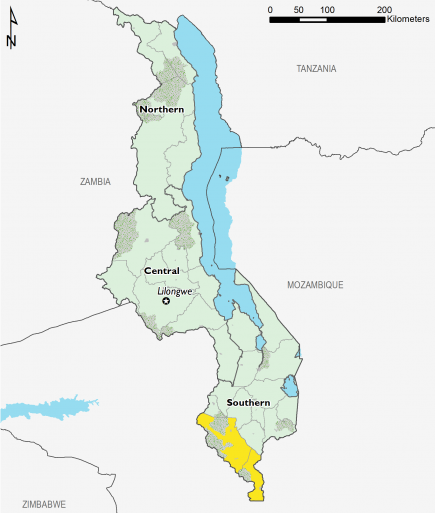 This is a map of Malawi showing most of the country in Minimal (IPC Phase 1). Nsanje and Chikwawa districts in southern Malawi are mapped in Stressed (IPC Phase 2).