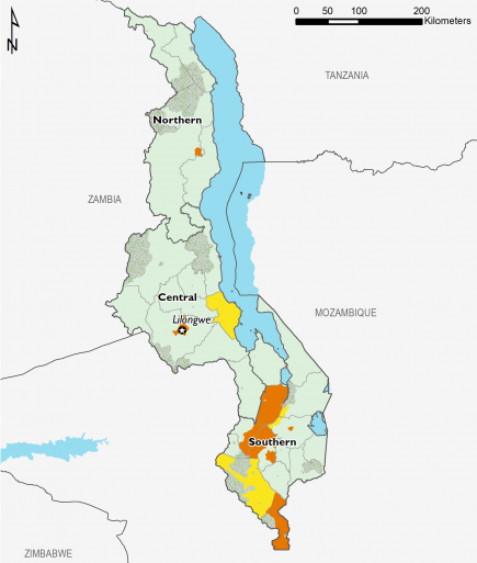 This is a map of Malawi showing most of the country in Minimal (IPC Phase 1). The four main urban centers (Mzuzu, Lilongwe, Zomba, and Blantyre) are mapped in Crisis (IPC Phase 3). Some areas in southern Malawi and one area in central Malawi are mapped in Stressed (IPC Phase 2), while other areas in southern Malawi are mapped in Crisis (IPC Phase 3).