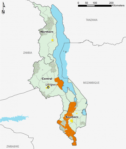This is a map of Malawi showing most of the country in Minimal (IPC Phase 1). The four main urban centers (Mzuzu, Lilongwe, Zomba, and Blantyre) are mapped in Stressed (IPC Phase 2). Some areas in southern Malawi and one area in central Malawi are mapped in Crisis (IPC Phase 3).