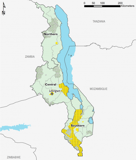 This is a map of Malawi showing most of the country in Minimal (IPC Phase 1). The four main urban centers (Mzuzu, Lilongwe, Zomba, and Blantyre) are mapped in Stressed (IPC Phase 2). Some districts in southern Malawi and the Salima district in central Malawi are mapped in Stressed! (IPC Phase 2!) indicating that humanitarian assistance is anticipated to prevent worse outcomes.