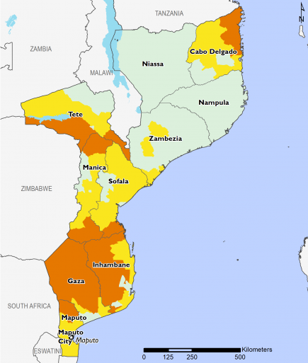 Current food security outcomes in June 2020. Stressed (IPC Phase 2) and Crisis (IPC Phase 3)  in Cabo Delgado in the north, Minimal (IPC Phase 1) in Niassa, Nampula, and Zambezia. Northern Tete are Minimal (IPC Phase 1) while southern Tete is in Crisis (IPC Phase 3). Sofala is mostly Stressed (IPC Phase 2). Southern Mozambique is mostly in Crisis (IPC Phase 3).