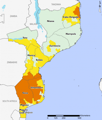 Map of Mozambique illustrating the projected highest IPC classification in areas of concern